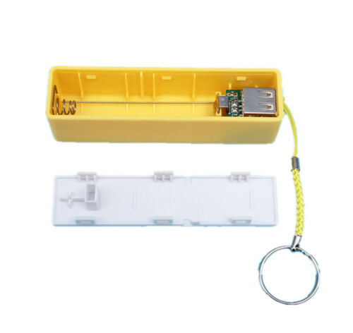 Yellow USB Power Bank Charger Pack Box Battery Case for 18650 Portable US