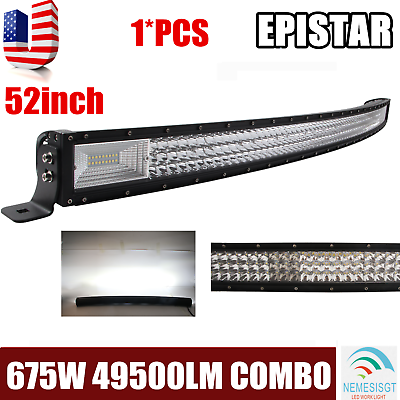 7D TRI ROW 52INCH 675W LED WORK LIGHT BAR BOAT TRUCK CURVED DRIVING LAMP PK 300W
