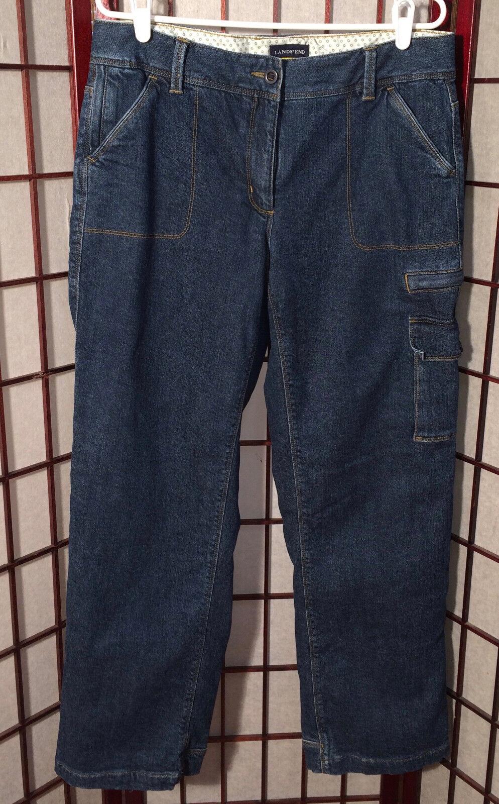 2 Pr Lot LANDS END Women 12 Lined Cargo Pant Brown + Denim Carpenter Jeans Warm