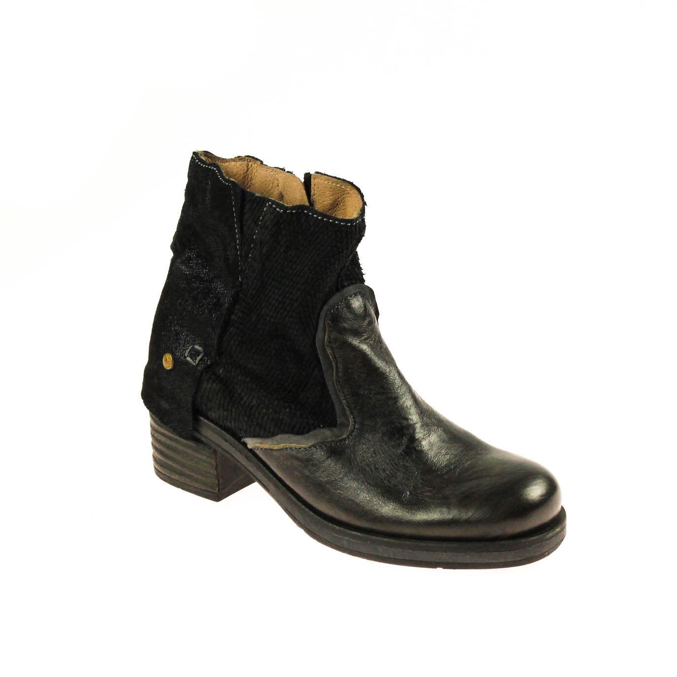 Encanto señora botín semi zapato de de zapato cuero marrón negro multicolor 509612