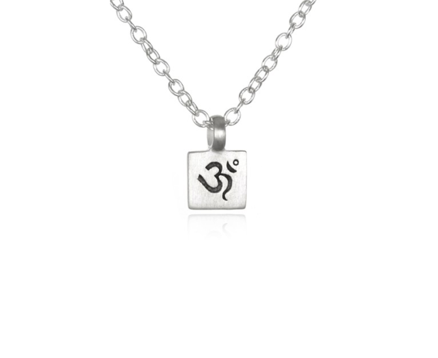 Satya Jewelry 124441 OM Engraved Pendant Necklace Silver Square