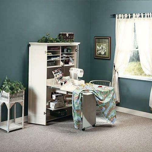 Craft Armoire Sewing Cabinet Antiqued White Finish Sauder ...