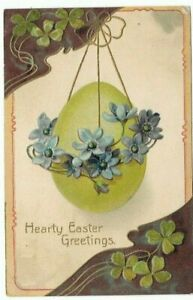 Antique-Post-Card-c-1908-034-HEARTY-EASTER-GREETINGS-034-Embossed-Flower-amp-Egg