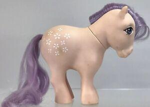 Vintage G1 My Little Pony Blossom Figure MLP 1982 Figure Concave Feet Purple 80s