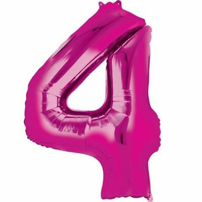 """16/"""" Hot Pink Number 4 Four Air Filled Foil Balloon 4th Party Decoration Supplies"""