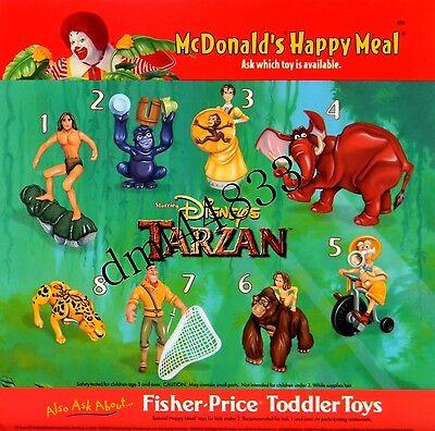 1999 McDonalds Tarzan MIP Complete Set - Lot of 8, Boys & Girls, 3+