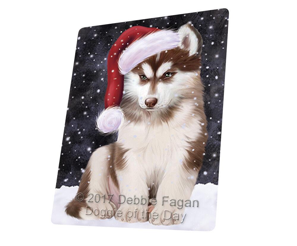 Let it Snow Christmas Holiday Siberian Husky Dog Woven Throw Sherpa Blanket T133