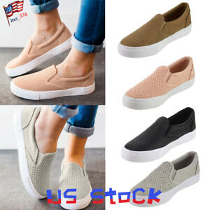 Women-Flat-Casual-Shoes-Comfort-Slip-On-Loafers-Sneakers-Hollow-Ladies-Sports-US