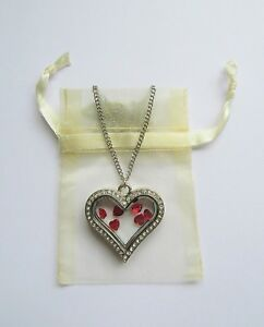 brand new crystal heart pendant necklace floating red hearts
