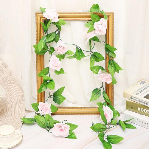 2 X 8Ft Artificial Silk Rose Flower Garland Vine Ivy Wedding Garden String Decor