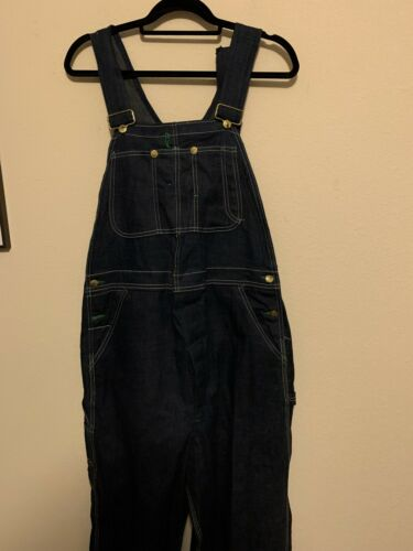 1930s 1940s Mens Indigo Raw 10 Ounce Denim Bib Ove