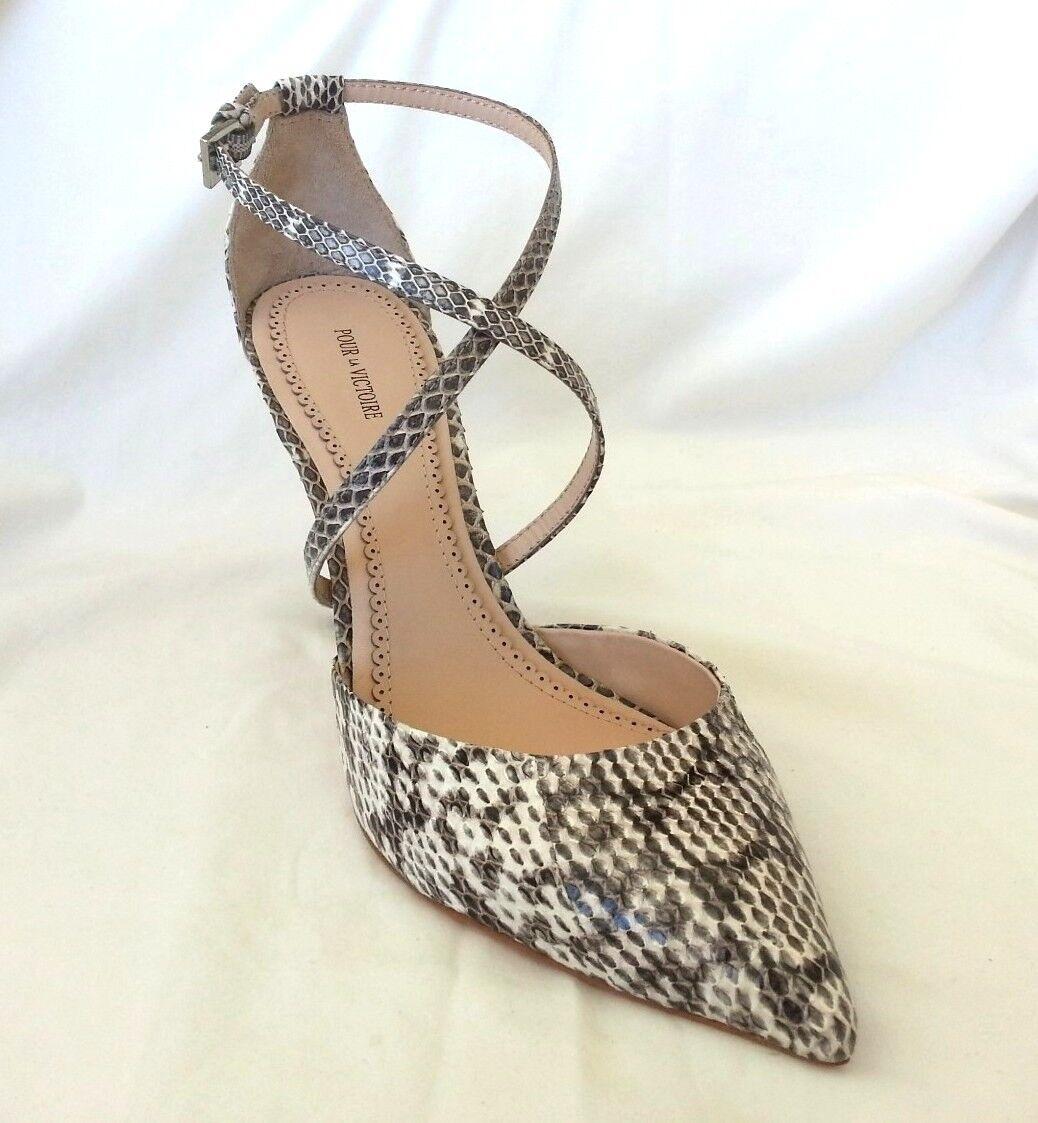 liquidazione Pour La Victoire Cheyenne Leather Snake Ankle Strap Strap Strap Pump Sz 8, 10-NIB-RP   235  Ritorno di 10 giorni