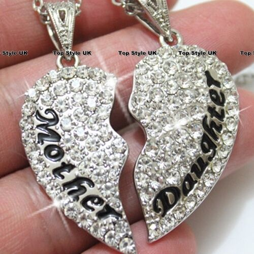 Two Part Necklace Mother Mum Daughter Present Crystal Diamond Heart Gift Present