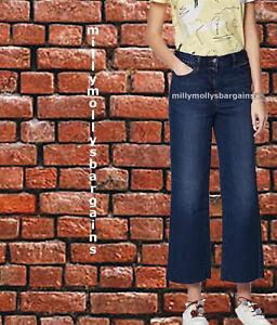 Nouveau-Femme-Bleu-Crop-Cheville-Jambe-Large-Next-Jeans-Taille-20-18-16-14-12-10-6-RRP-28