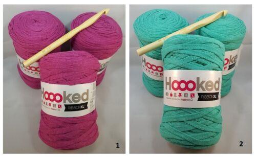 Hoooked Häkelset/' 3x Ribbon XL Mandala Tapis Plum//Violet Comme neuf /'Nouveau fasses du crochet