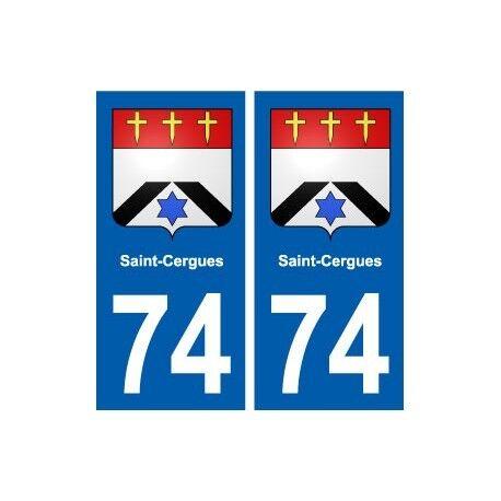 74 Saint-Cergues blason autocollant plaque stickers ville arrondis