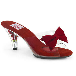 Pin-Up-Couture-BELLE-301BOW-Womens-Clear-Red-Heel-Mini-Platform-Slide-On-Sandals