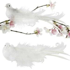 4-STUCK-Tauben-mit-Klammer-20cm-weiss-Glitzer-Hochzeitstauben-Gastgeschenke