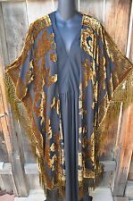 "ART TO WEAR BLACK & GOLD VELVET BURNOUT SILK KIMONO JACKET 76""B,OS+, NWOT"