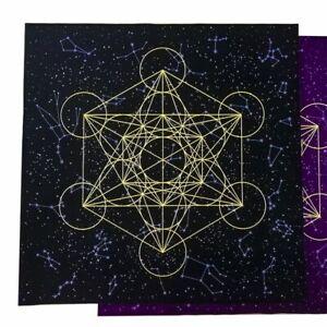 Metatrone-039-s-Cub-crystal-grid-Altar-Cloth-Decor-Wicca-Velveteen-60-x-60-cm
