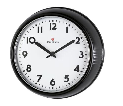 Diameter 24cm Black Zassenhaus 72716Retro Wall Clock