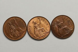 UK-GB-PENNY-1948-3-HIGH-GRADE-COINS-LOT-B10-SYE15