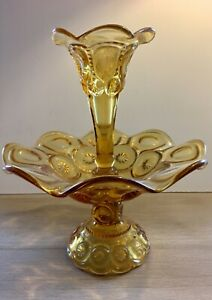 Antique-1960-s-LE-Smith-Amber-Glass-Epergne-Moon-amp-Star