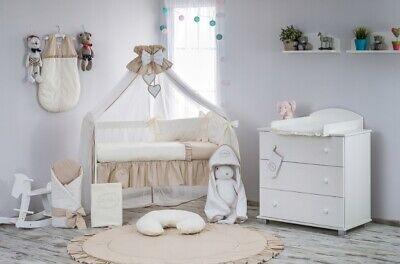 Babybett mit 10-tlg Komplett-Set Bettwäsche Matratze Nestchen Teddybär//braun Neu
