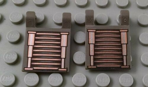 LEGO Lot of 2 Dark Gray 2x2 Flag Pieces Silver and Copper Space Circuits Pattern