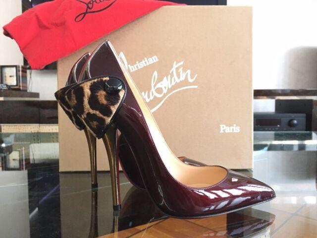 NEW CHRISTIAN LOUBOUTIN Huguetta Pump 120 Patent Pony Black Red Leo Shoe EU36
