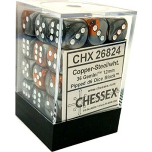 Chessex Dice d6 Sets Gemini Copper /& Steel White 12mm Six Sided 36 Die CHX 26824