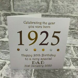 Incredible 95Th 1925 Year You Were Born Birthday Card Personalised 6Sq Funny Birthday Cards Online Fluifree Goldxyz