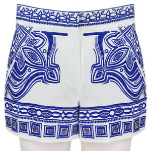 Emilio-Pucci-Pure-White-Blue-Embroidered-High-Waisted-Greician-Shorts-IT40-UK8