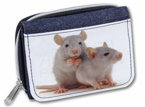 Silver Blue Rats Girls//Ladies Denim Purse Wallet Christmas Gift Idea RAT-1JW