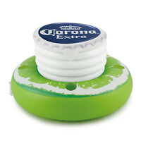 Corona 30 Inflatable Bottle Cap And Lime Floating Cooler With Lid & Cup Holders