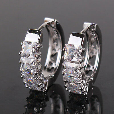 Classic 18k white gold filled Swarovski Crystal dazzling hoop earring