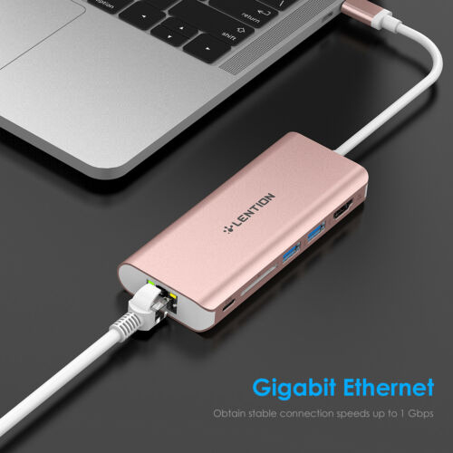 USB-C 3.0 HUB Type C to HDMI Ethernet LAN Adapter Card Reader fr MacBook Pro Air