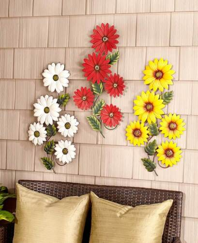 Spring White Daisy Wall Hanging Red Gerber Country Sunflower Die-Cut Metal Art