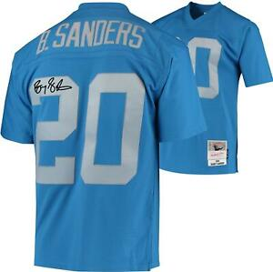 Barry-Sanders-Detroit-Lions-Signed-Blue-Throwback-1994-M-amp-N-Replica-Jersey