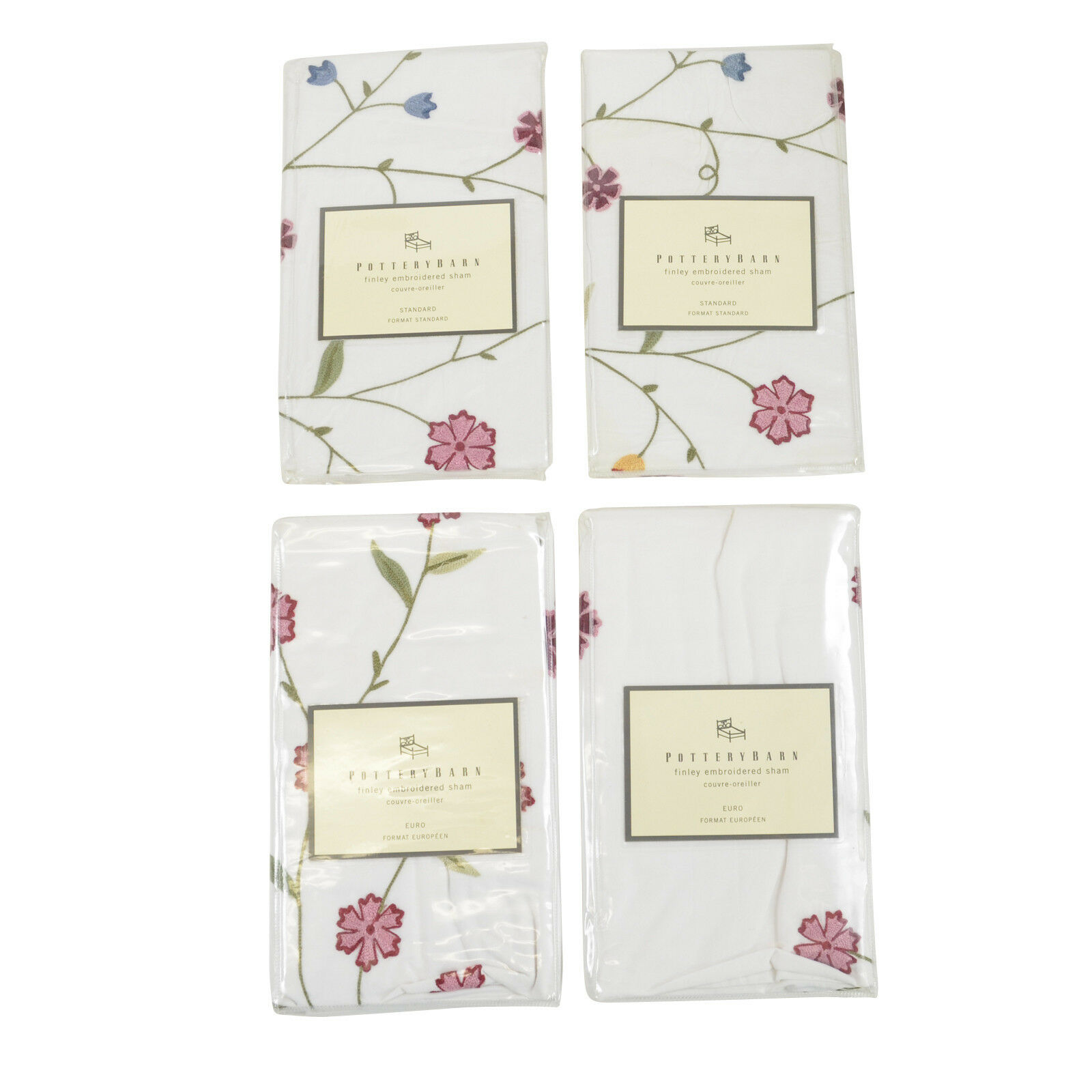 NIP Pottery Barn Finley Floral Embroiderosso Standard Euro Sham S 2