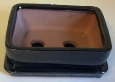 """Lovely Bonsai Pot and attached Saucer 6"""", New, Black"""