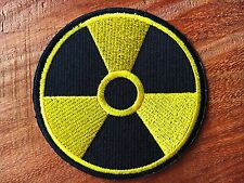 RADIOACTIVE RADIO HAZARD NUCLEAR LOGO EMBROIDERY IRON ON PATCH BADGE APPLIQUE