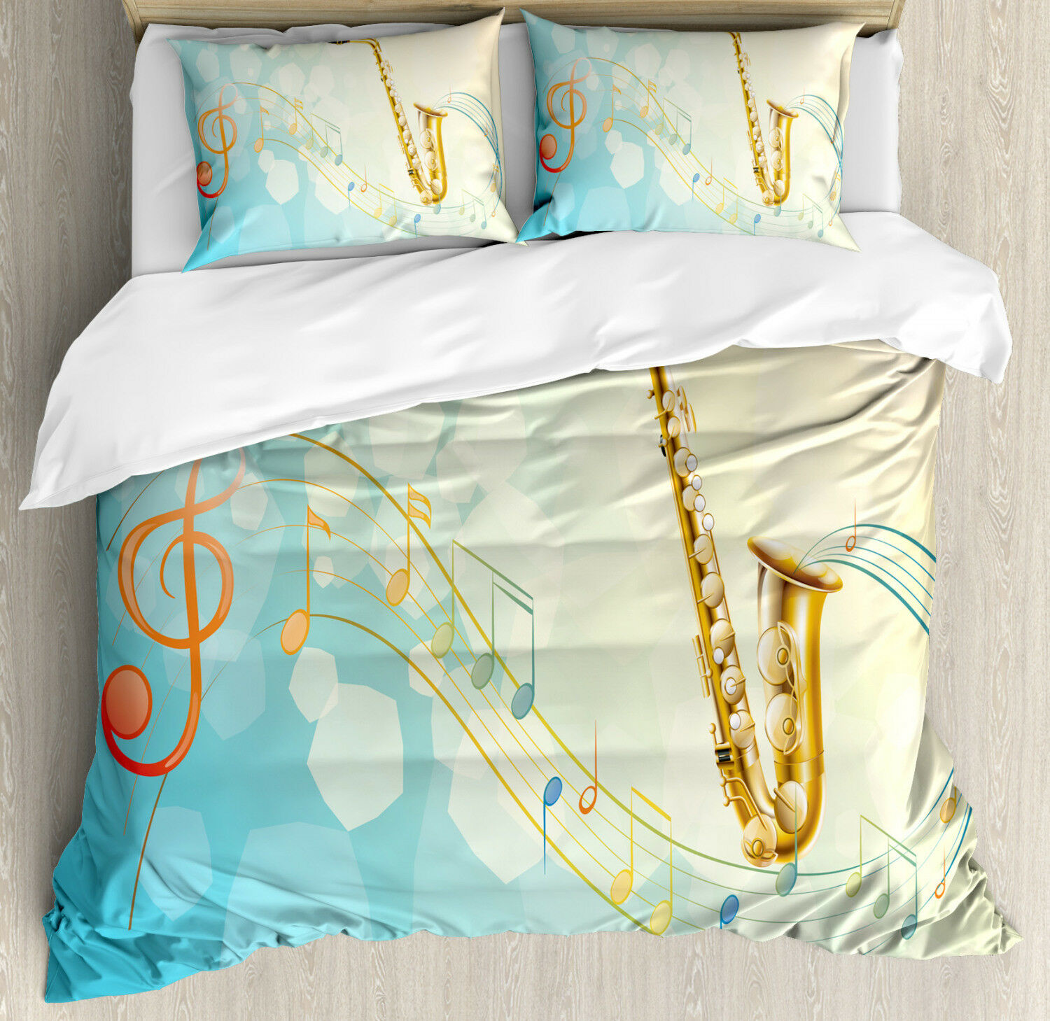 colorful Duvet Cover Set with Pillow Shams Musical Notes Vibes Print