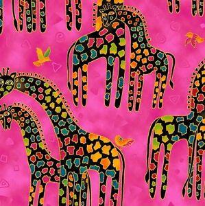 Mythical-Jungle-Giraffe-Toile-Y2136-74M-Raspberry-w-Metallic-by-Laurel-Burch-BTY
