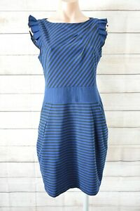 Cue-In-The-City-Pencil-Stretch-Dress-Size-12-Blue-Black-Stripe-Exposed-Zip