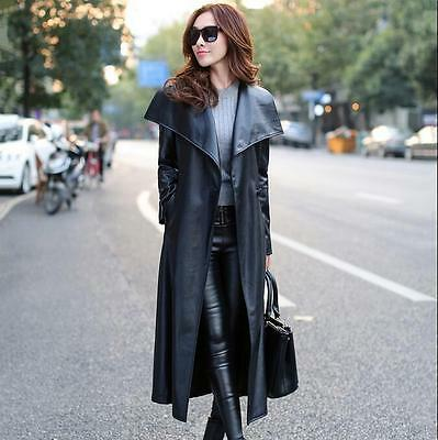 Formal Women's Long Trench Coat Faux Leather Slim Jacket Windbreaker Outerwear02