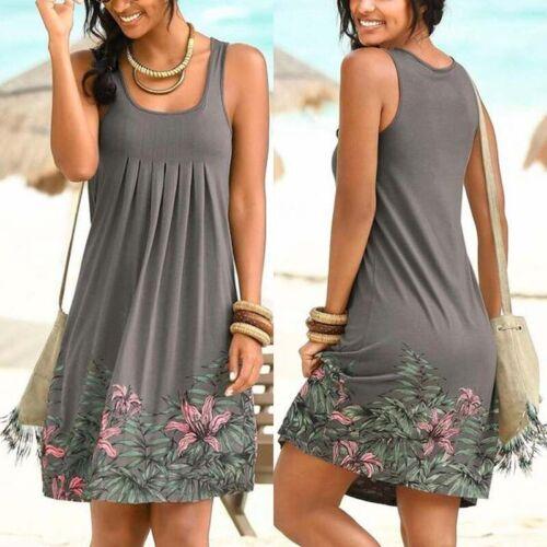 Damen Sommer Boho Trägerkleid Minikleid Tunika Freizeit Strand kleider Übergröße