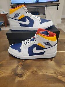 Nike-Air-Jordan-1-Mid-Royal-Blue-lazer-Orange-554724-131-Men-s-Size-11-5-NEW
