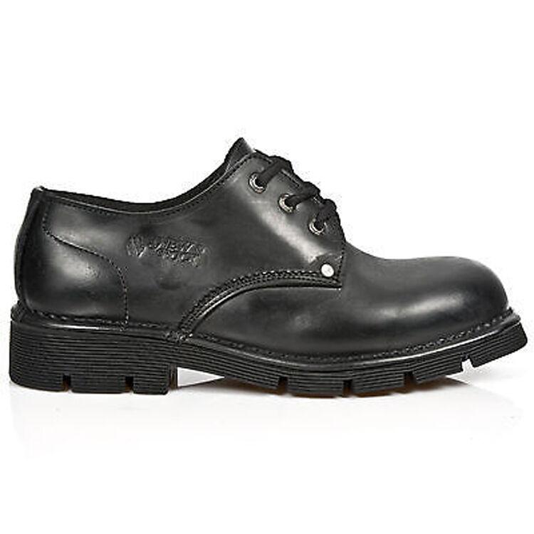Newrock New Rock Newmili 032-C1 Unisex Negro Gótico Biker Botas Zapatos Con Cordones