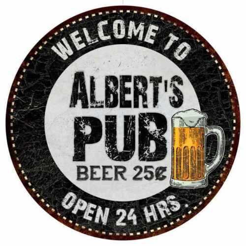 Albert/'s Pub Round Metal Sign Beer Bar Black Wall Décor Gift 100140039240